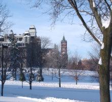 Winter scene of campus.